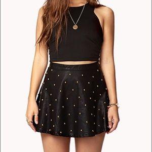 Forever 21 Studded Leather Like Skirt